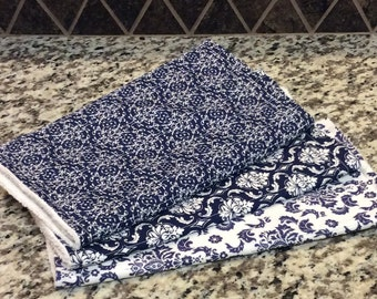 Handmade Designer Burp Cloths - Gender Neutral - Beautiful Blue Print