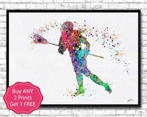 Lacrosse Girl 2 Sports Art Print Watercolor Print Girl's Lacrosse illustration Lacrosse Art Poster Lacrosse Watercolor Nursery Wall Art