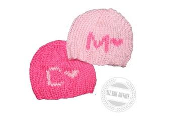 Monogrammed baby girl hat| Personalized baby hat| Knit baby hat| Twin girls| monogrammed baby hats| Knit Newborn hat