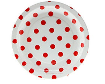 Cake Plates - White with Red Polkadots (12 per pack)