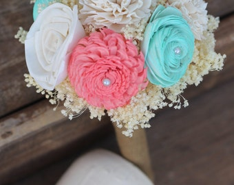 Coral and Mint Bouquet