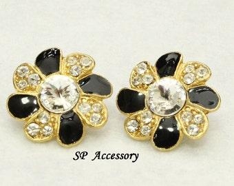 crystal earrings, black golden flower, flower earrings