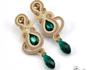 Beige Cream Dangle Soutache Earrings, Long Champagne Earrings, Emerald Earrings, Soutache jewelry , Soutache Post Earrings