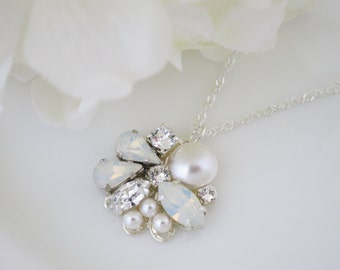 White opal pendant necklace, Swarovski crystal and pearl bridal necklace, Simple rhinestone wedding necklace
