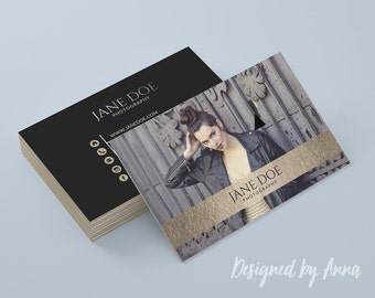 Photographer business card template, modern business card design gold foil photography instant download business card printable  studio