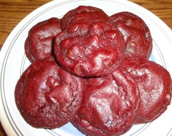 Soft Baked Homemade Red Velvet Chocolate Chip Cookies (2 Dozen)