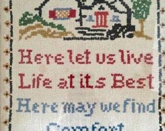 """Vintage Needlepoint Framed-1930' """"Here Let Us Live,..."""