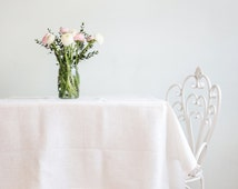 Easter table top - White linen tablecloth - Natural Wedding tablecloth - Pure linen tablecloth
