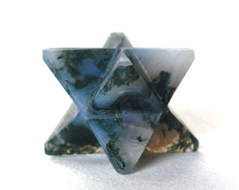Moss Agate Hand Cut Crystal Merkaba Star Natural Stone