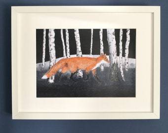 Fox in the Woods, watercolour and ink illustration, signed limited edition print.