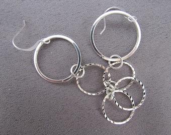 Triple Hoop Sterling Silver Earrings//Dangles//60mm