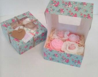 baby cupcakes, baby shower gift, new mum gift, burp cloth, socks and bib cupcakes, baby shower decoration
