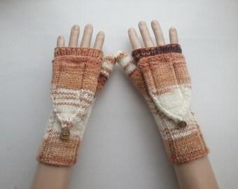 EXPRESS SHİPPİNG!Hand-Knit Convertible Fingerless Mittens/Gloves/ReyyanCrochet