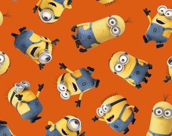 1 In A Minion Yellow Graphic Set Minions Yardage by Quilting Treasures / Orange 23990-o / Fat Quarter / 1 Yard Cut  / 1/2 Yard Cuts