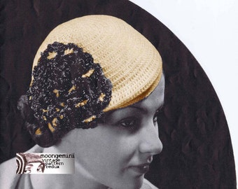 PDF Cabochon Beanie Crochet Cap Pattern Hat with Flowers Instant Download