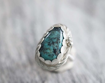 sterling silver turquoise ring, turquoise gemstone ring, turquoise jewelry, southwestern ring, sterling silver gemstone ring, statement ring