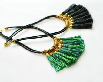 Gold statement necklace Tassel necklace Fringe necklace Green tribal necklace Gold fringe jewelry Boho chic necklace Valentines day gift