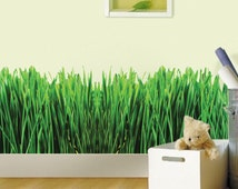 Grass Decal, Nursery Decal, Grass Wall Decal, Grass Wall Design, Grass Wall Mural, Wild Grass Nursery Wall Decor, Green Grass Wall Art, b19