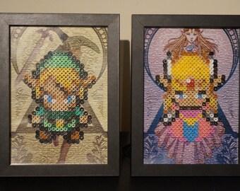 Framed Link and Zelda 8 bit Hama Beads