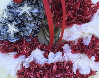 4th of July Partriotic Red White Blue Bandana Wreath with Cross Stitch Star Accents