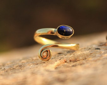 Magical Gemstone Spiral Brass Ring Adjustable DIFFERENT STONES AVAILABLE