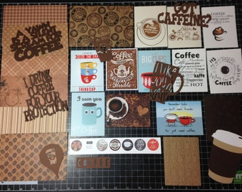 "Coffee ""Get Caffeinated"" Themed Scrapbook Kit"
