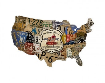 US License Plate Wall Clock Metal Sign American Made - Us liscense plate map