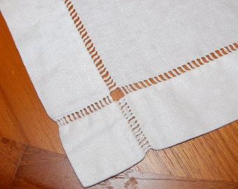 Vtg. Off White Tea Towel Square w/ Hemstitch Design