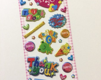 Cute Thank You Stickers from Japan - Sparkly, Metallic, and Puffy