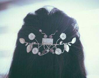 Tocado de novia,plata y piedras naturales,hecho amano