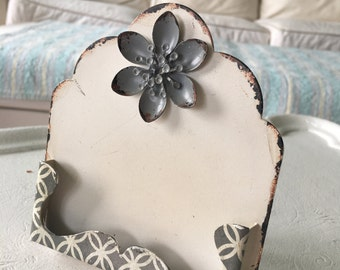 Mexican style business card holder/ vintage look business card holder/ shabby chic white business card holder