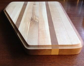 Solid Birch & teak wood cutting board. Beautiful edge grain solid wood cutting board for the kitchen. butcher block edge natural cooking