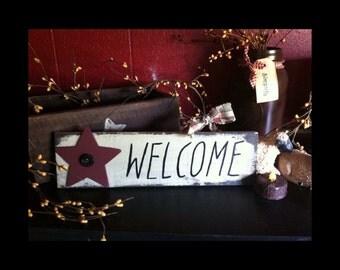 Welcome Sign, Primitive Welcome Sign, Primitive Decor, Welcome Door Hanger, Rustic Welcome Sign, Wood Pallet Sign