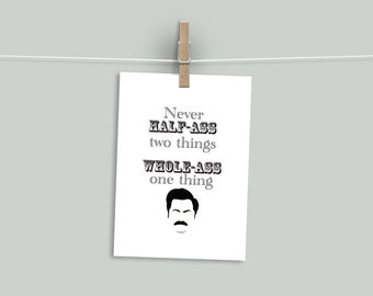 Ron Swanson Quote A4 Print