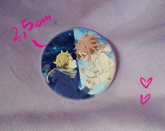 kyokai no kanata beyond the boundary mirai kuriyama akihito kanbara cute shoujo kawaii anime manga badge pin button