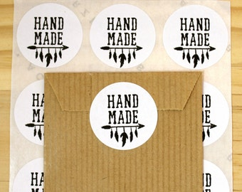 Lot of 48 gift stickers, stickers, Hand made, feathers, package labels
