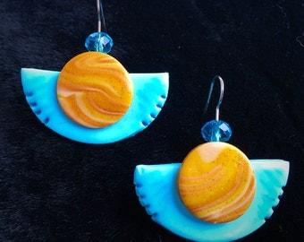 "Earrings ""Blue Moon"", Blue moon, polymer clay"