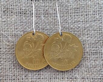 cotton flower coin earrings
