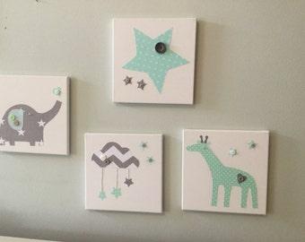 canvases nursery mint green grey elephant giraffe star bunting cushion covers & Bunting nursery chevron modern contemporary vintage