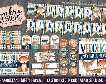 Woodland Birthday Decorations, Woodland Animals, Woodland Birthday, Woodland Party, First Birthday, Printable Decor, Woodland Print