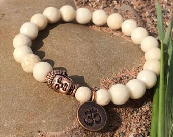 Natural Gemstone Zen,Petrification Wood Beads,Meditation Yoga,Minimalist Bracelet,Antique Copper Yoga,Om Mantra Chant,Gemstone Boho,Quebec