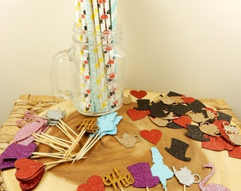 Alice in Wonderland Party Supplies, Paper Straws, Cupcake Toppers, Table Confetti Scatters, Mad Hatter, Heart Cupcake Topper