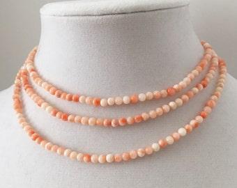 Vintage Angel Skin Coral Necklace *1950s*
