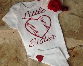 Baby girl baseball outfit, Little sister baseball onesie, Glitter baseball shirt, Little sister baseball shirt, toddler baseball shirt