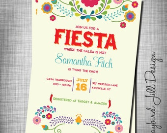 Fiesta Bridal Shower Invitation, Salsa Bride Invite, Mexican Despedida de Soltera