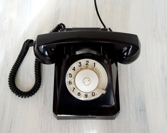 Vintage rotary phone Black phone USSR phone Dial telephone Retro home decor Desk top phone