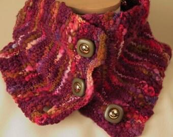 Knit Cowl Wool Hand Knit Cowl Magenta Purple Pink Green Cowl