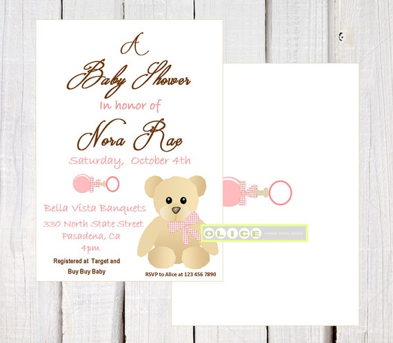 Pink Teddy Bear Baby Shower: Pink Teddy Bear Invitation Baby Shower By OlicePartyPrintables
