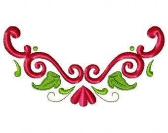 Floral Swirls Machine Embroidery Design Single
