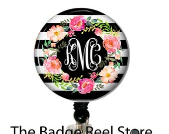 Name Badge Holder, Retractable ID Badge Holder - Preppy - Shabby Chic - Name Tag - Water color Flowers